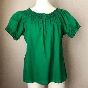 Bright Green Bronze-Beaded Puff Sleeve Top